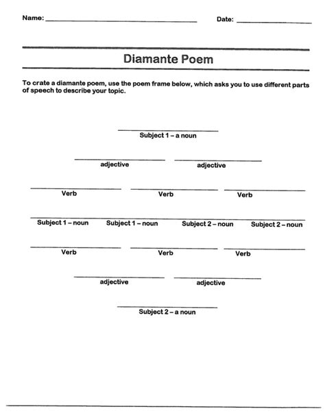 poetry templates for blank diamante poem template