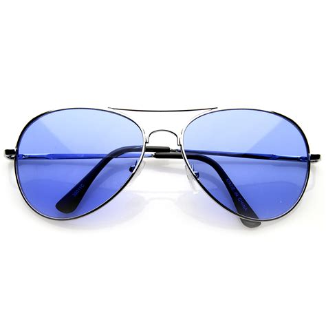 colored lens sunglasses colorful premium silver metal aviator glasses with color