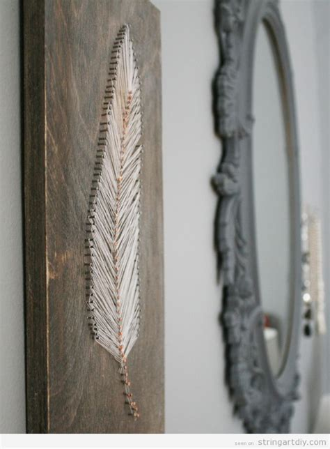 String Ideas - feather string ideas to decorate a wall 3 string