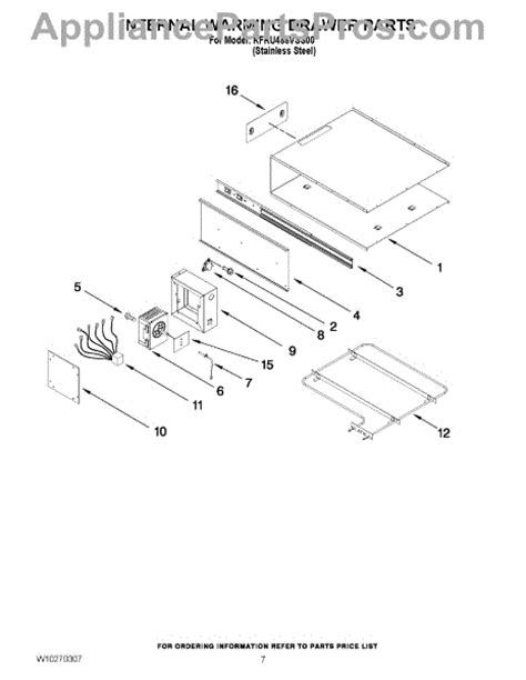 kitchenaid warming drawer parts parts for kitchenaid kfru488vss00 internal warming drawer