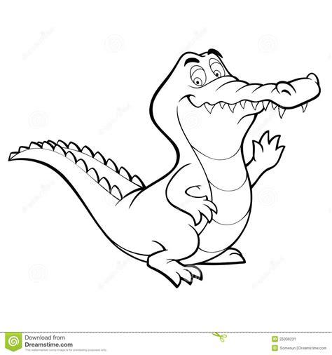 Vector Cartoon Crocodile Line Art Coloring Book Stock