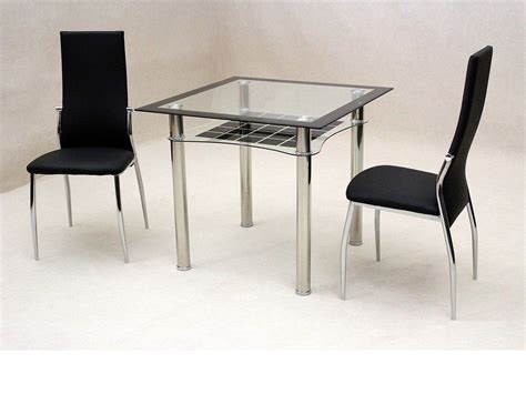 Glass Top Dining Tables And Chairs Square Glass Top Table With Silver Steel Legs Combined With Black Leather Chairs With High Back