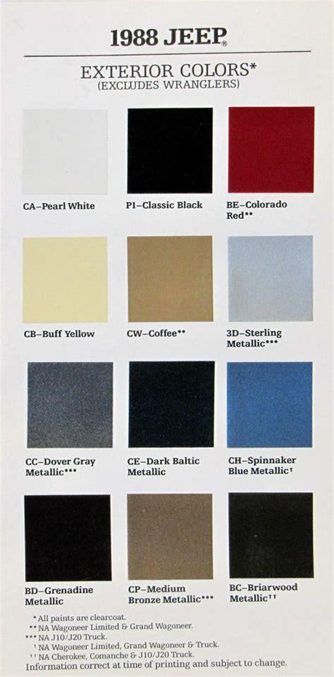 1988 jeep paint color palette ebay