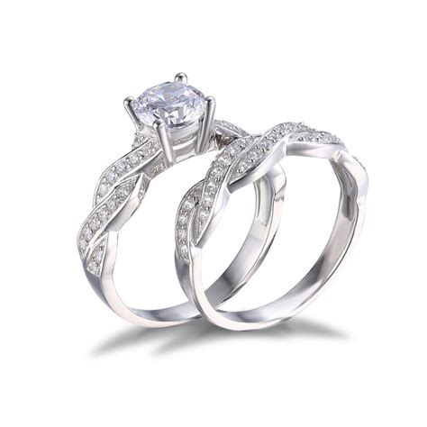 cz sterling silver wedding sets jewelrypalace 1 5ct cz wedding bridal sets ring solid 925