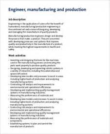 Production Engineer Description manufacturing engineer description sle 9 exles in word pdf
