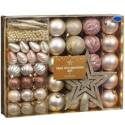 christmas tree decoration set 50pc rose gold baubles b m