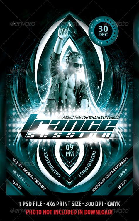 dafont planet kosmos trance session flyer graphicriver