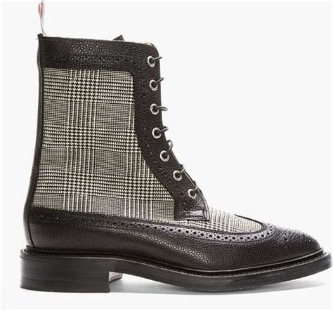 thom browne black houndstooth check leather longwing