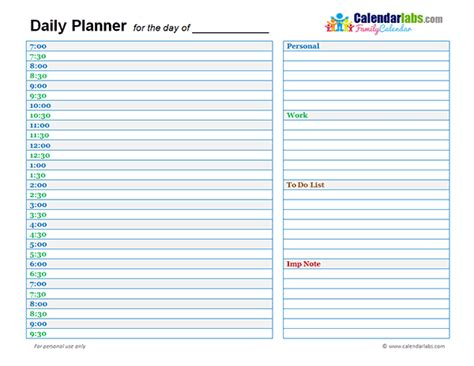 Day By Day Calendar Family Day Planner 02 Free Printable Templates