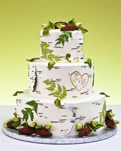 birch rustic wedding cake
