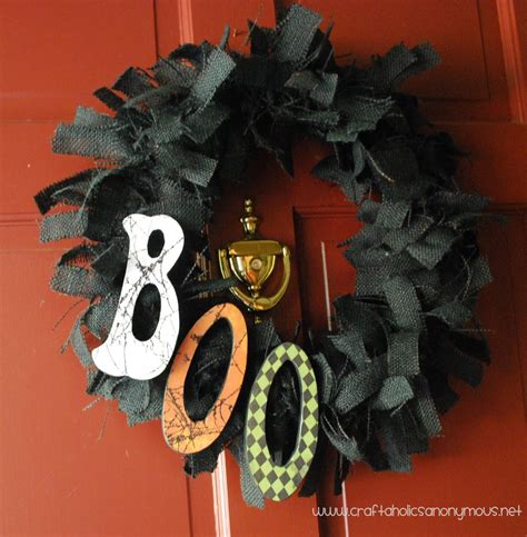 black burlap halloween wreath