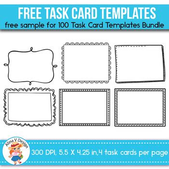Free Sample Of 100 Task Card Templates Editable By Alina V Design And Resources Task Card Template