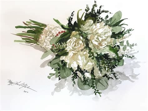 Wedding Bouquet Painting by Bridal Bouquet Watercolor Painting Iamnotmaggie