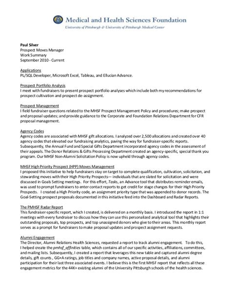 Tableau Resume by Paul Silver Resume Prospect Mgr Summary