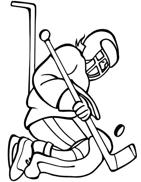 hockey coloring page goalie kneeling