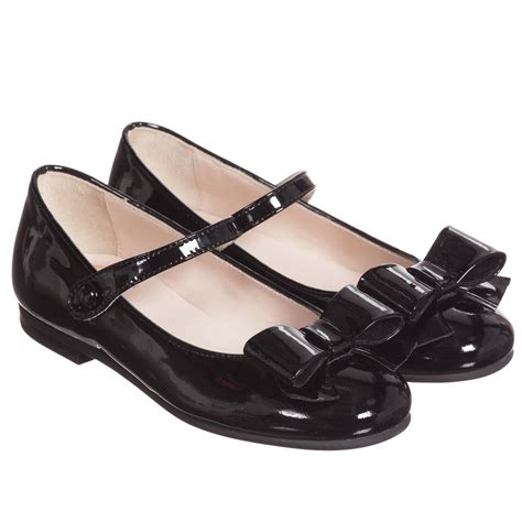 il gufo black patent leather shoes with bow