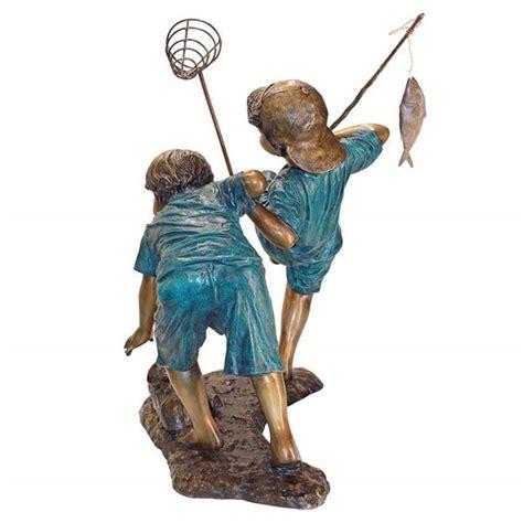 double trouble fishing boys cast bronze garden statue