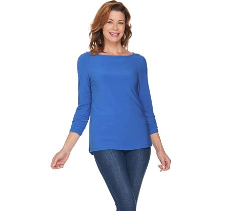 susan graver liquid knit susan graver textured liquid knit top with button trim