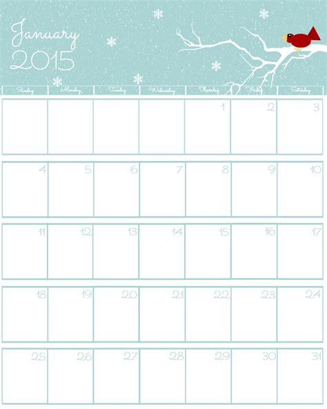 January 2015 Calendar Printable Free 2015 Printable Calendar The Bearfoot Baker