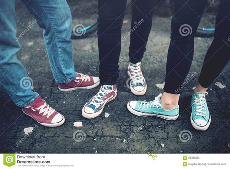 Powell Blue Sneakers Sepatu Casual Canvas rebel teenagers wearing casual sneakers walking on concrete canvas shoes and