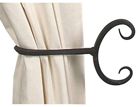 iron curtain tie backs wrought iron curtain tie back black 9 quot long