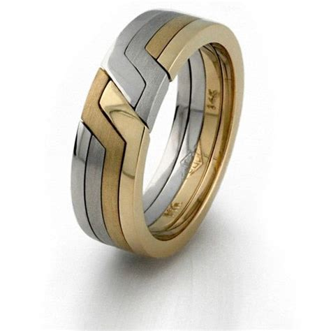 14k yellow white gold tricolored 4 band puzzle ring