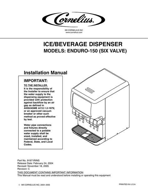 Cornelius Enduro 150 User S Manual Manualzz Com