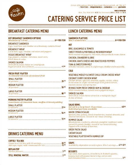 catering price list template 19 price list sles in pdf