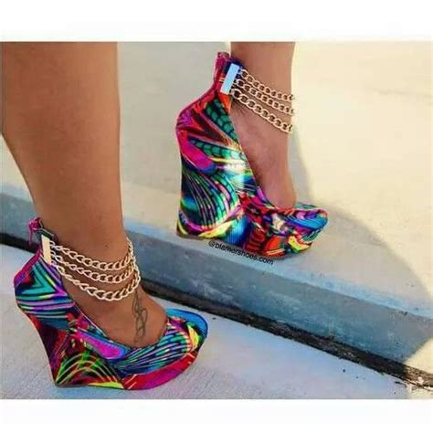 colorful wedge sandals colorful kaleidoscope wedge heel with ankle chains