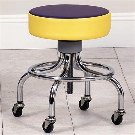 clinton industries chrome base stool with multi color top