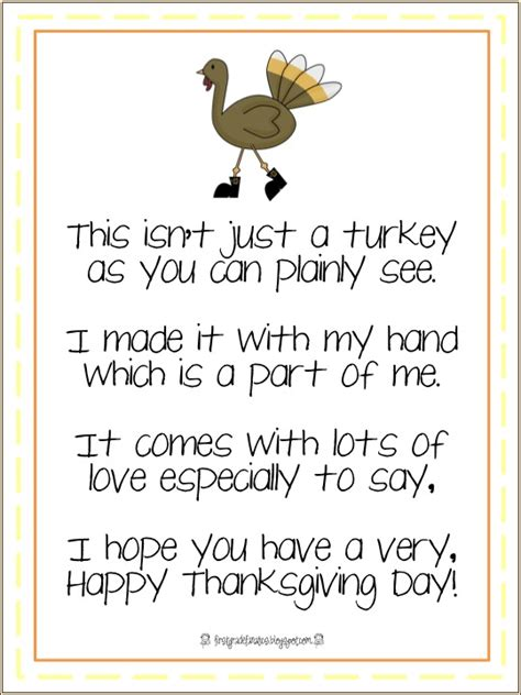 printable turkey handprint poem first grade fanatics gobble gobble