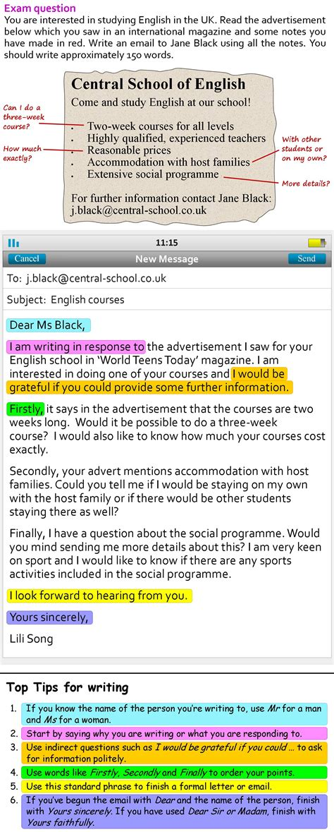 layout email english a more formal email learnenglish teens british council