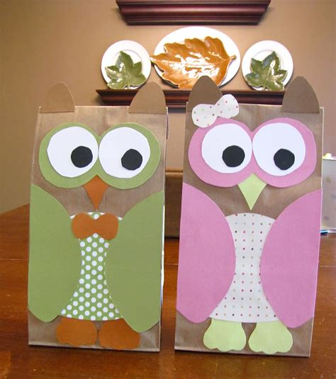 Owl Paper Bag Craft - image paper owl treat bag template