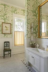 Bathroom cheery bathroom with wallpaper and white subway wainscoting