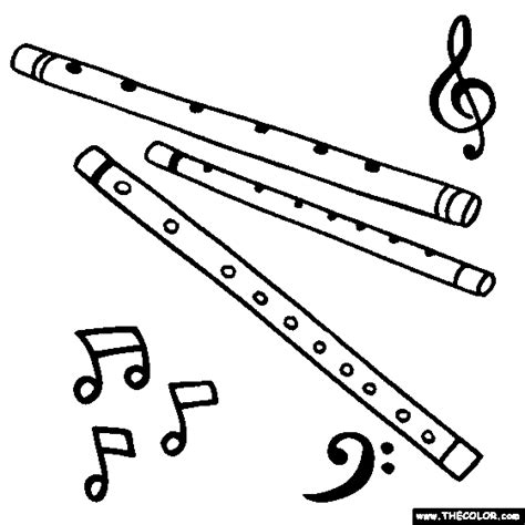 flute coloring page color wind instruments embroidery