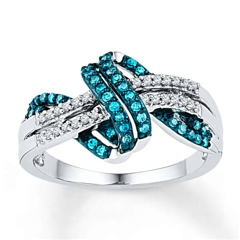 blue ring 1 4 ct tw cut sterling silver