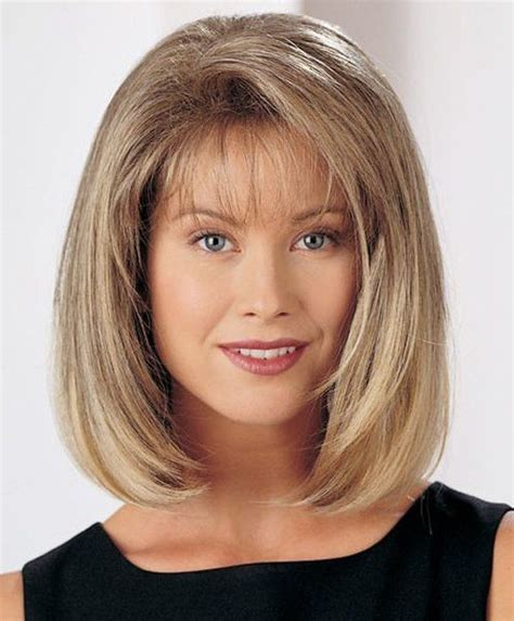 bangs after age 50 bob style capless trendy side bang straight synthetic