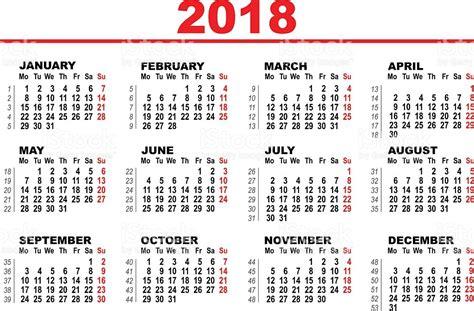 Guatemala Calendã 2018 Grid Calendar For 2018 Illustracion Libre De Derechos