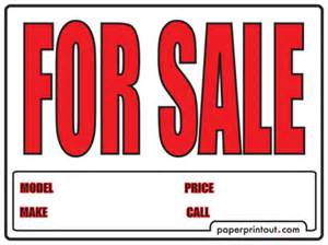 Car For Sale Sign Template by Free Car For Sale Sign To Print