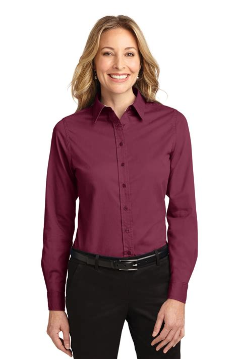 womens dress shirts l608 port authority long sleeve easy care shirt ladies