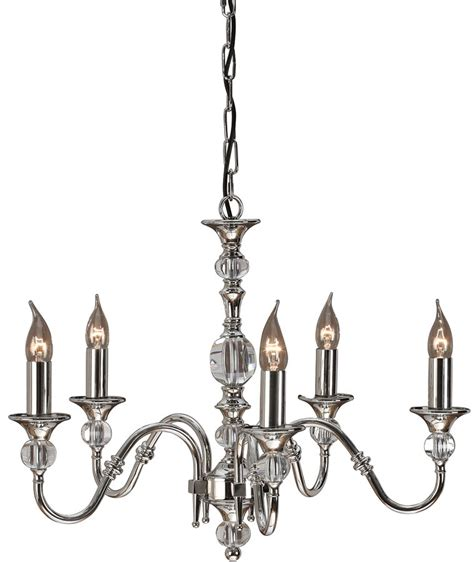 Polished Nickel Chandeliers Polina Polished Nickel 5 Light Classic Chandelier 63599