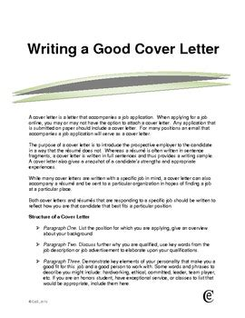 writing a good cover letter sle by cathleen hanson tpt