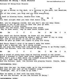 Swing Words Song Sultans Of Swing By Dire Straits Song Lyric For
