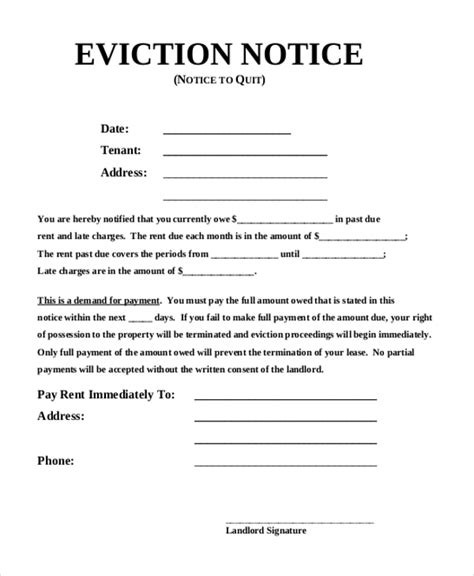 printable eviction notice pdf sle eviction notice form 8 free documents in pdf doc