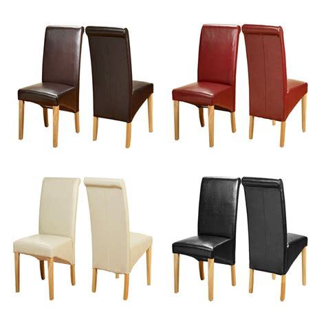 Ebay Leather Dining Chairs Top Quality Leather Dining Chairs Roll Top Scroll Back Oak Leg Seat Furniture Ebay