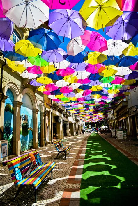 decorated with colored umbrellas agueda portugal editorial photo image of colored