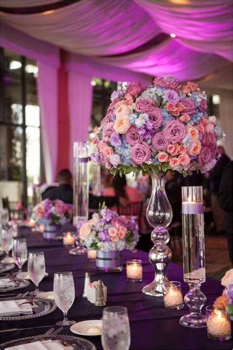 GORGEOUS lavender and coral wedding decor ~ Photo: JW
