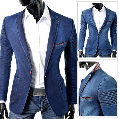 Blezer Denim denim blazer jacket blue ribbed shoulders slim