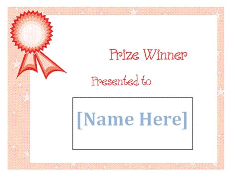 free prize winner certificate template sle for kids