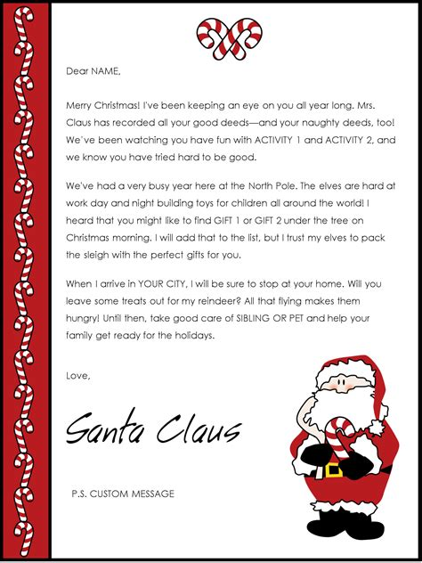 printable return letter from santa christmas letter from santa